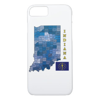 Flag and Map of Indiana iPhone 7 Case