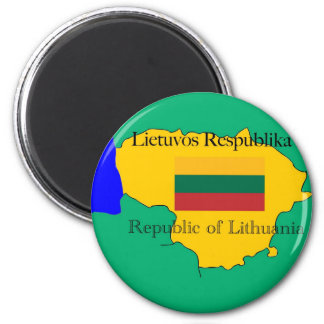 Flag and Map of Lithuania Magnet