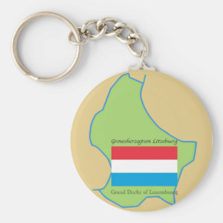 Flag and Map of Luxembourg Basic Round Button Keychain