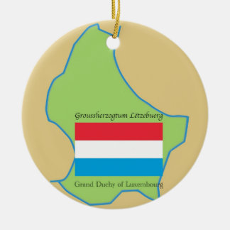 Flag and Map of Luxembourg Ceramic Ornament