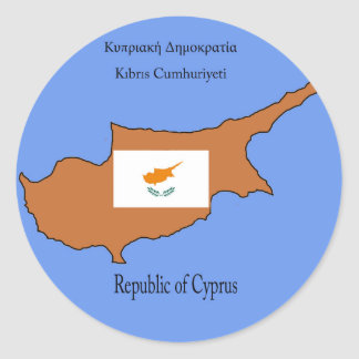 Flag and Map of Republic of Cyprus Round Sticker
