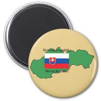 Flag and Map of Slovakia Magnet