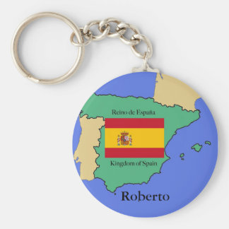 Flag and Map of Spain Basic Round Button Keychain