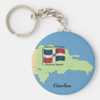 Flag and Map of the Dominican Republic Basic Round Button Keychain