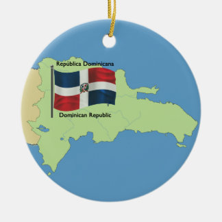 Flag and Map of the Dominican Republic Round Ceramic Ornament