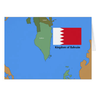 Flag and Map of the Kingdom of Bahrain Card