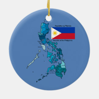 Flag and Map of the Philippines Round Ceramic Ornament