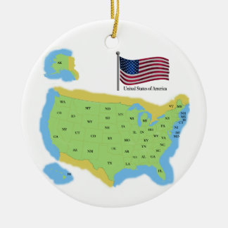 Flag and Map of the USA Ceramic Ornament
