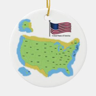 Flag and Map of USA Ceramic Ornament