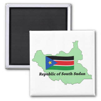 Flag and Map Republic of South Sudan  Magnet