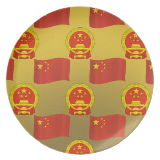 Flag and National Emblem of China Dinner Plate