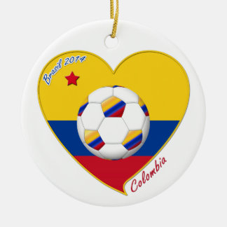 Flag and national team of COLOMBIA SOCCER 2014 Ceramic Ornament
