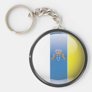 Flag and shield of Canary Islands Basic Round Button Keychain