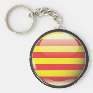 Flag and shield of Catalonia Basic Round Button Keychain