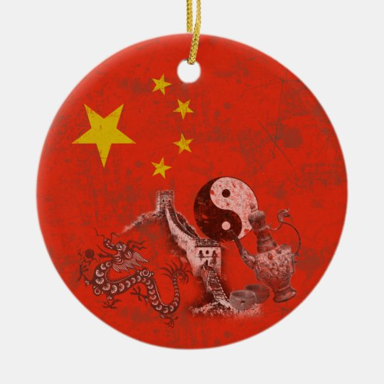 Flag and Symbols of China ID158 Ceramic Ornament