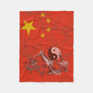 Flag and Symbols of China ID158 Fleece Blanket