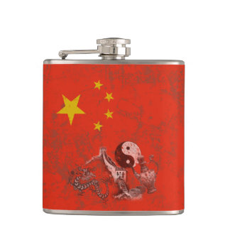 Flag and Symbols of China ID158 Hip Flask