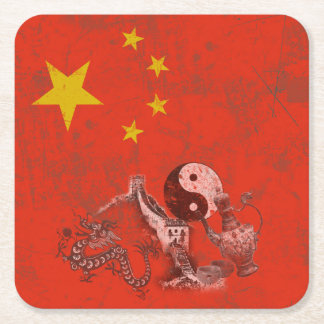 Flag and Symbols of China ID158 Square Paper Coaster