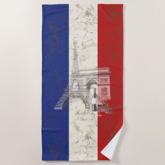 Flag and Symbols of France ID156 Beach Towel