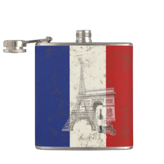 Flag and Symbols of France ID156 Hip Flask
