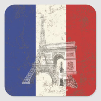 Flag and Symbols of France ID156 Square Sticker