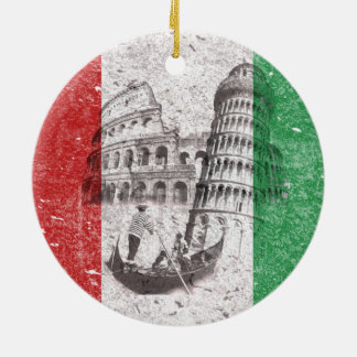 Flag and Symbols of Italy ID157 Round Ceramic Ornament