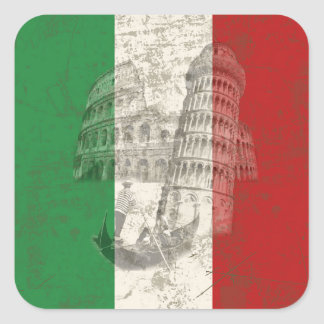 Flag and Symbols of Italy ID157 Square Sticker