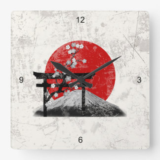 Flag and Symbols of Japan ID153 Square Wall Clock
