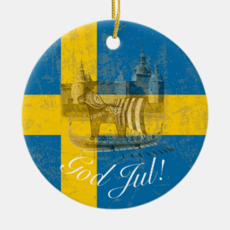 Flag and Symbols of Sweden ID159 Ceramic Ornament