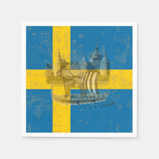 Flag and Symbols of Sweden ID159 Disposable Napkin