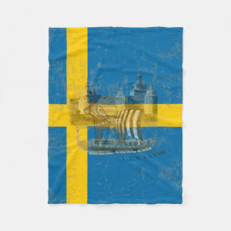 Flag and Symbols of Sweden ID159 Fleece Blanket