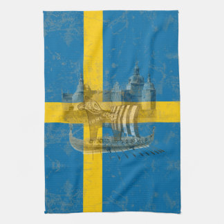 Flag and Symbols of Sweden ID159 Kitchen Towel