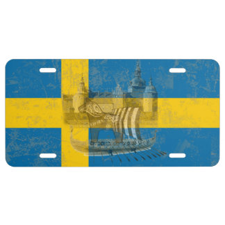 Flag and Symbols of Sweden ID159 License Plate