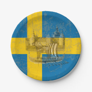 Flag and Symbols of Sweden ID159 Paper Plate
