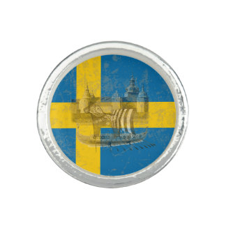 Flag and Symbols of Sweden ID159 Photo Ring