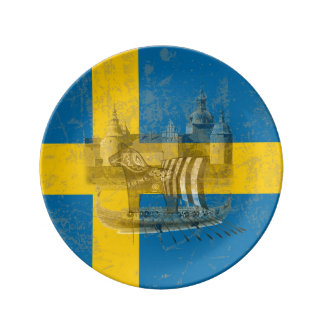 Flag and Symbols of Sweden ID159 Plate