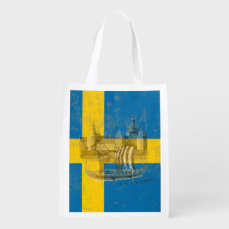 Flag and Symbols of Sweden ID159 Reusable Grocery Bag
