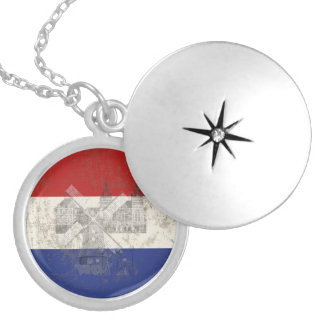 Flag and Symbols of the Netherlands ID151 Silver Plated Necklace