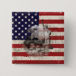 Flag and Symbols of United States ID155 2 Inch Square Button