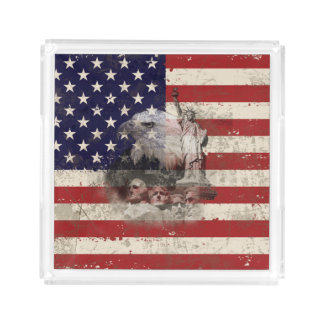 Flag and Symbols of United States ID155 Acrylic Tray