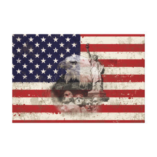 Flag and Symbols of United States ID155 Canvas Print
