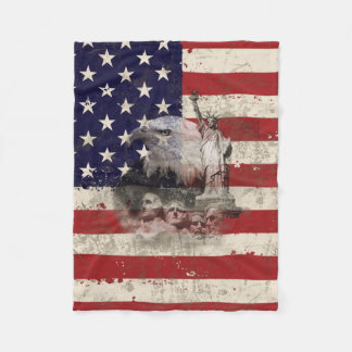 Flag and Symbols of United States ID155 Fleece Blanket