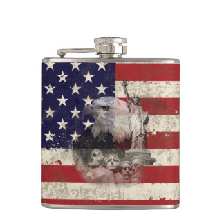 Flag and Symbols of United States ID155 Hip Flask