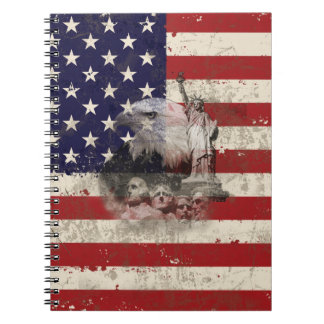 Flag and Symbols of United States ID155 Notebook