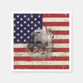 Flag and Symbols of United States ID155 Paper Napkins