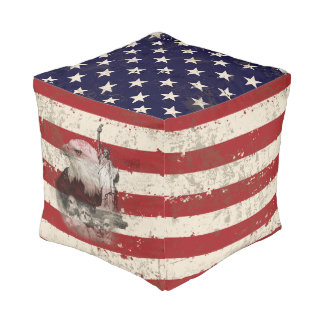 Flag and Symbols of United States ID155 Pouf