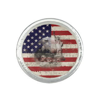 Flag and Symbols of United States ID155 Ring