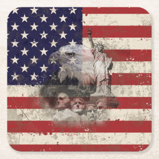 Flag and Symbols of United States ID155 Square Paper Coaster