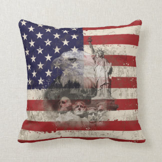 Flag and Symbols of United States ID155 Throw Pillow