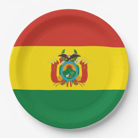 Flag: Bolivia 9 Inch Paper Plate